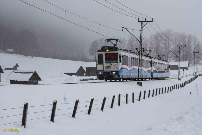 Zugspitze train near the Kreuzeck stop (winter time)