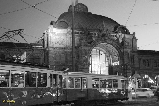 Tram in B&W - leaving the main train station in Nuremberg
