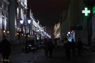 Nikolskaya Street at night