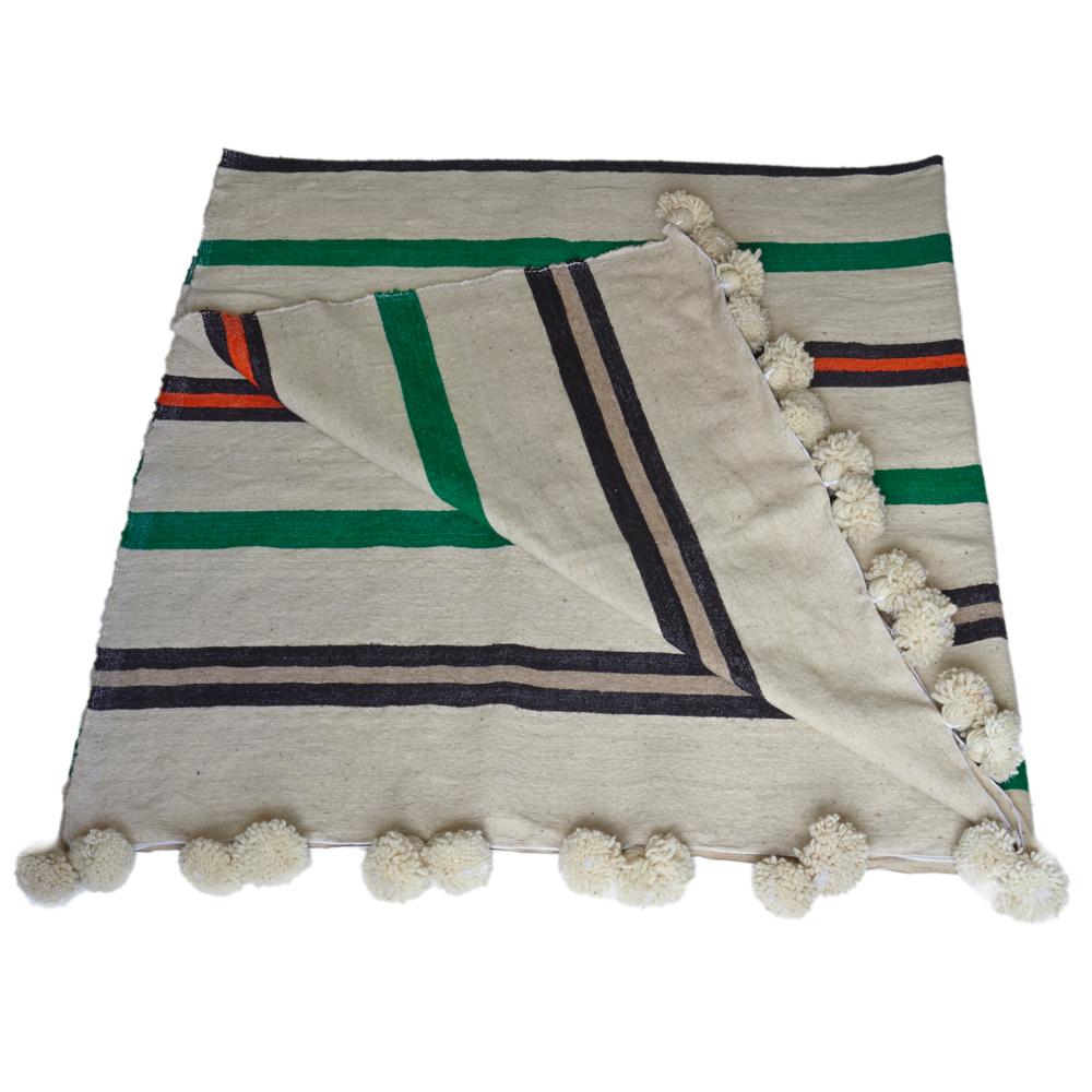 Moroccan Pom Pom Wool Blankets