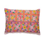 pink hand embroidered cushion