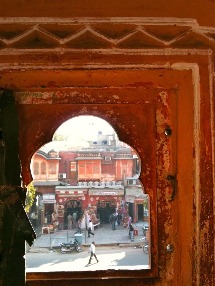 looking out from hawa mahal Jaipur maud interiors