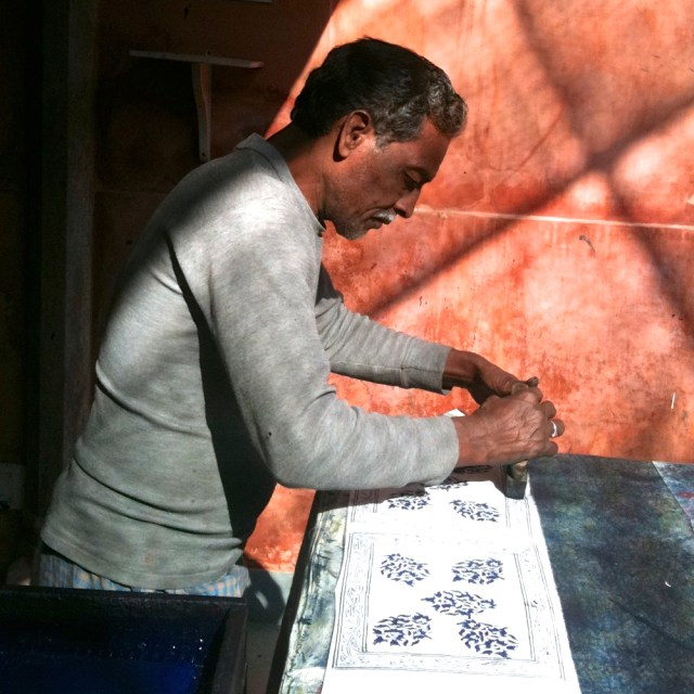 block printing demonstration Anokhi maud interiors