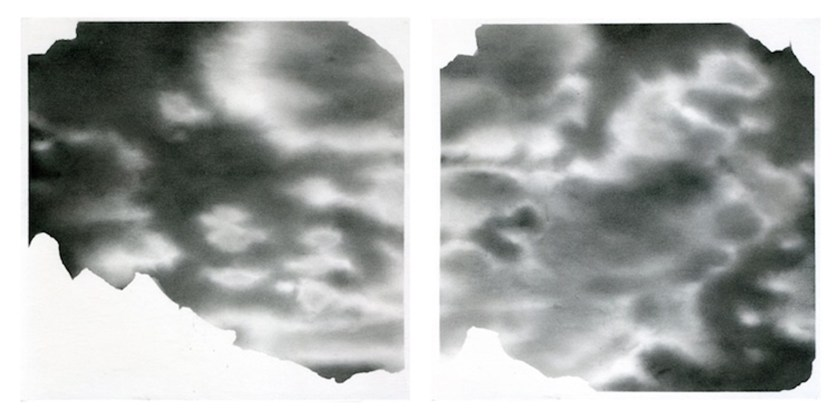 SCRATCHED SKY, Black stone on paper, 25 x 25 cm each square.