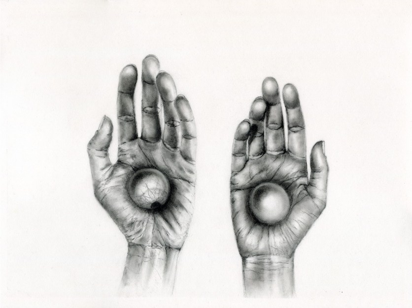 AT THE FIX POINT OF A TURNING WORLD, charcoal and graphite on paper, 40 x 30 cm.