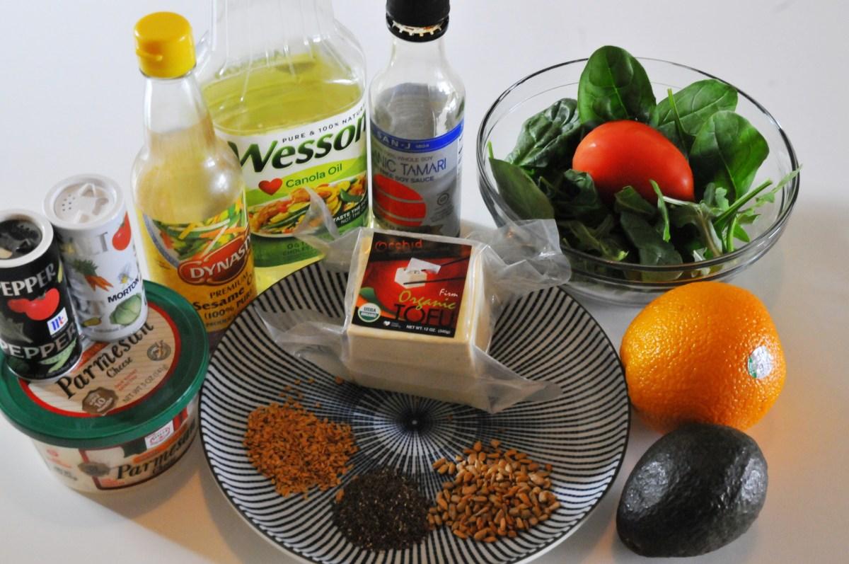 ingrédients salade tofu