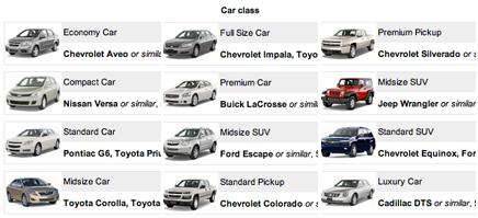 Maui Auto Rental Categories