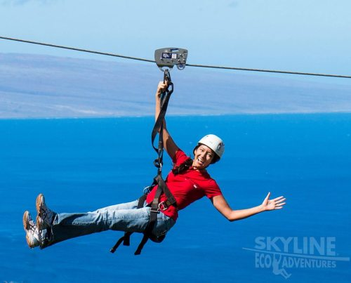 Kaanapali Zipline Tour takes you for an exciting ride high above the Pacific Ocean