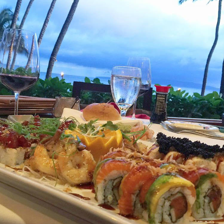 happy hour sushi and wine at five palms restaurant maui hawaii