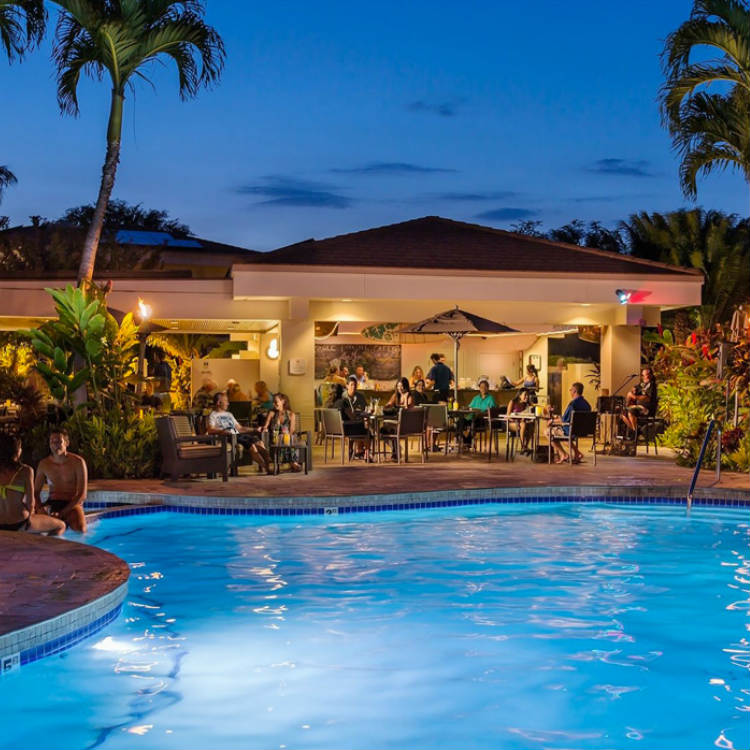 happy hour at kamaole poolside cafe at maui coast hotel - maui happy hours