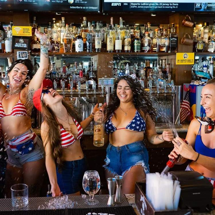 Bartender Girls in USA Bikinis at The Dirty Monkey in Lahaina, Maui, HI