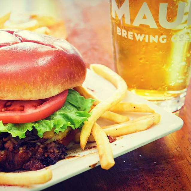 happy hour at cafe mambo paia maui hi - burger with fries and maui brew co beer