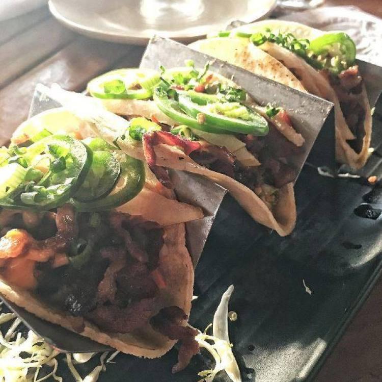 Happy Hour Pork Tacos at Monkeypod Wailea Maui Hawaii