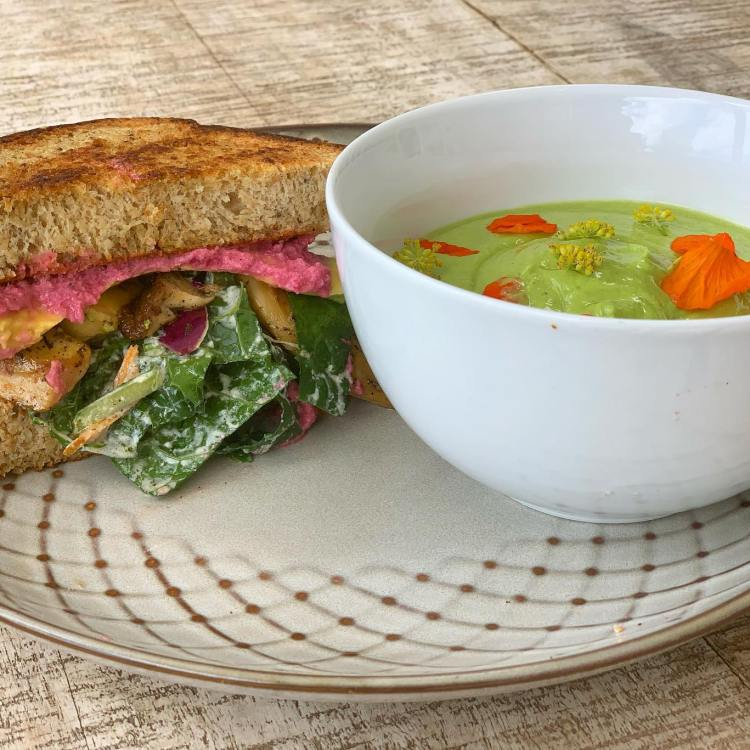 Vegan Soup and Sandwich at Moku Roots Maui