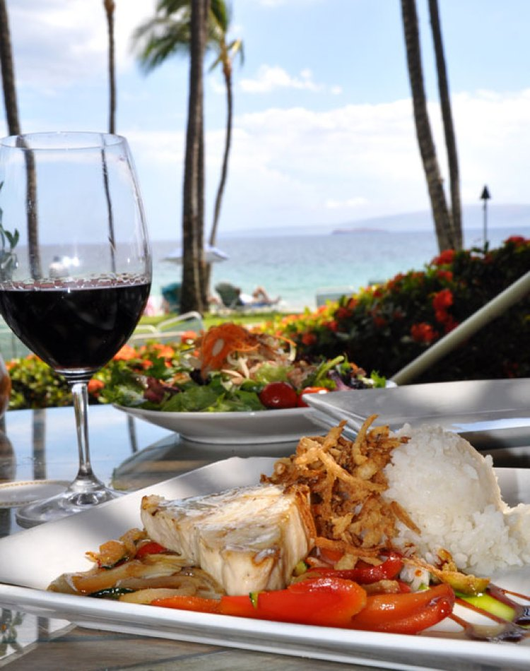 Wine and Fish at 5 Palms Maui - Happy Hour