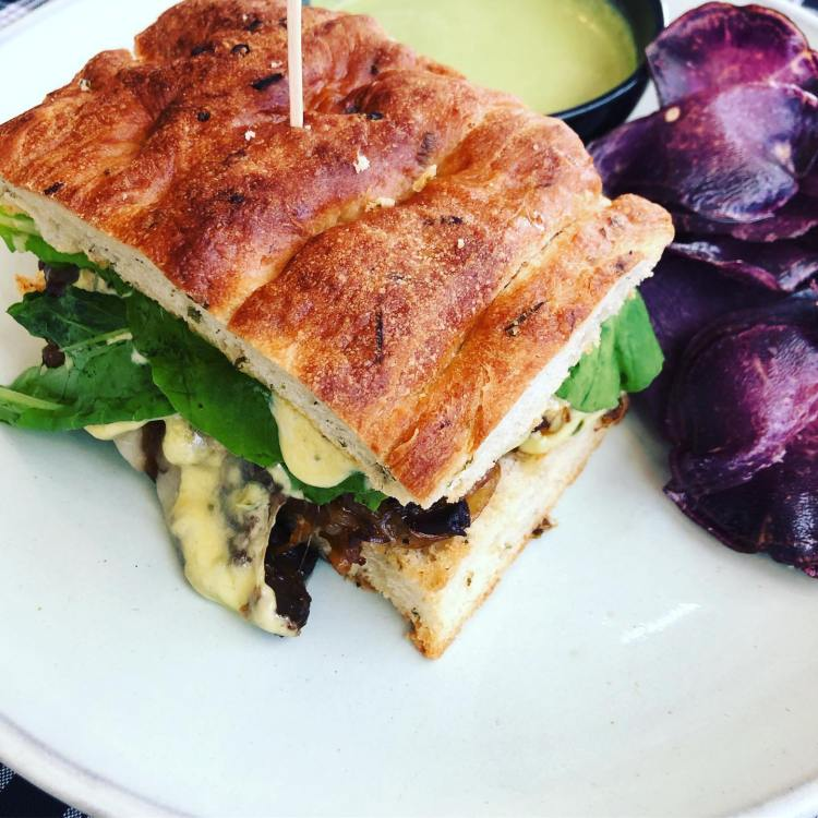 foccacia sandwich at lineage maui happy hour