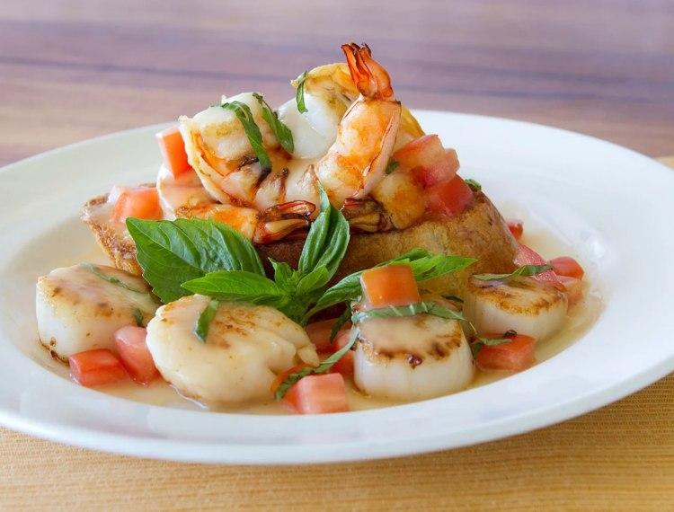 shrimp entree at longhis restaurant wailea maui hawaii