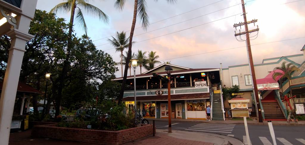 View of Captain Jack's and The Wharf on Front Street Lahaina Maui Hawaii