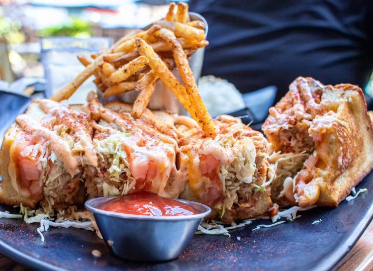 Down the Hatch Happy Hour - Lobster and Crab Stuffed Grilled Cheese