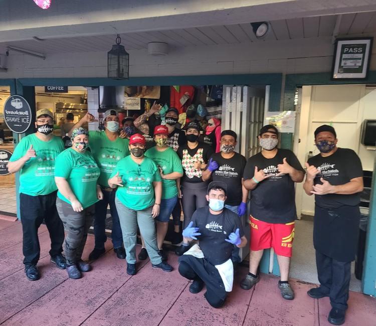 Down the Hatch Maui Restaurant Staff with Masks On - Maui Happy Hours