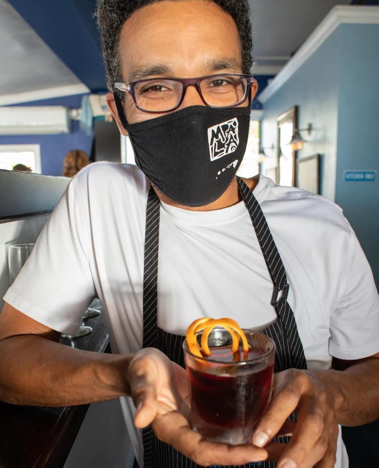 Maui Bartender with Mask at Mala in Lahaina Hawaii