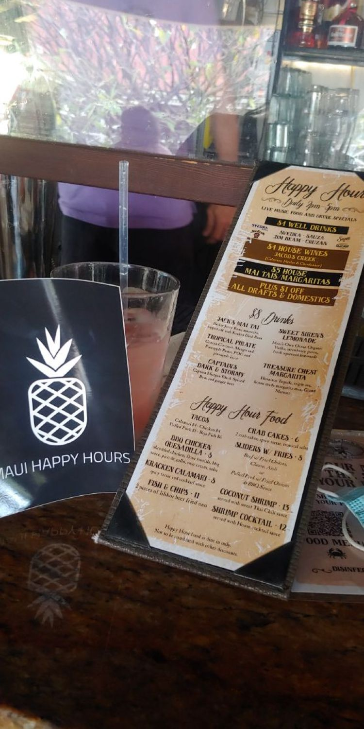 Happy Hour Menu Captain Jack's Island Grill Lahaina Maui