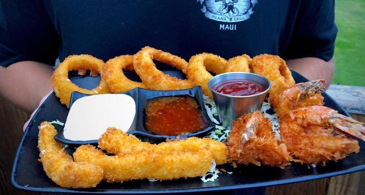 Happy hour appetizer sampler - onion rings, fish sticks, coconut shrimp