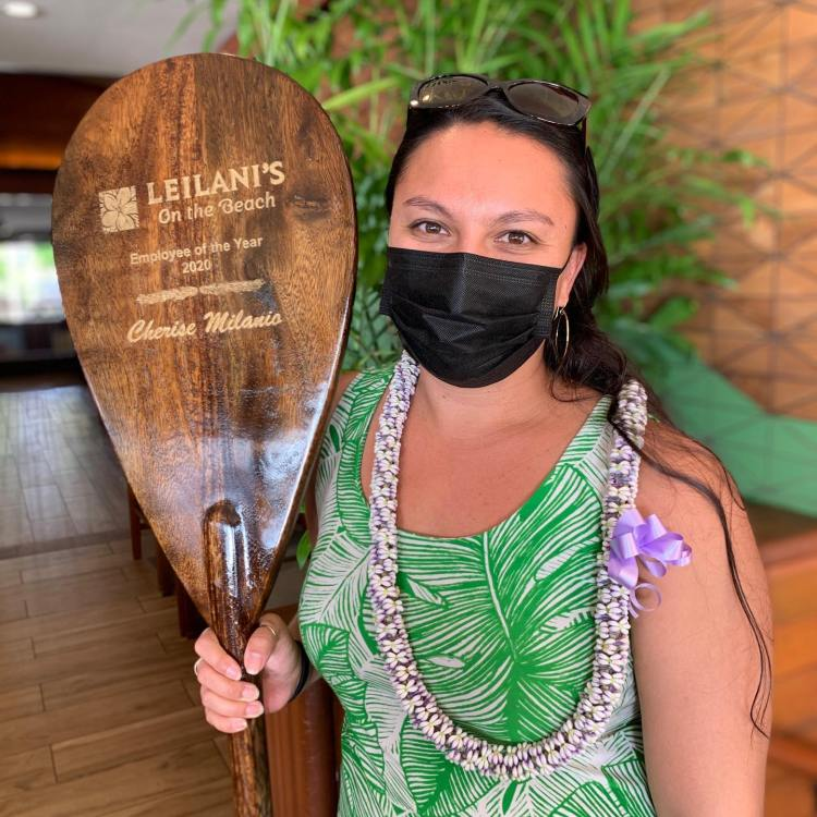 Cherise Milanio Employee of the Year with Covid Mask at Restaurant