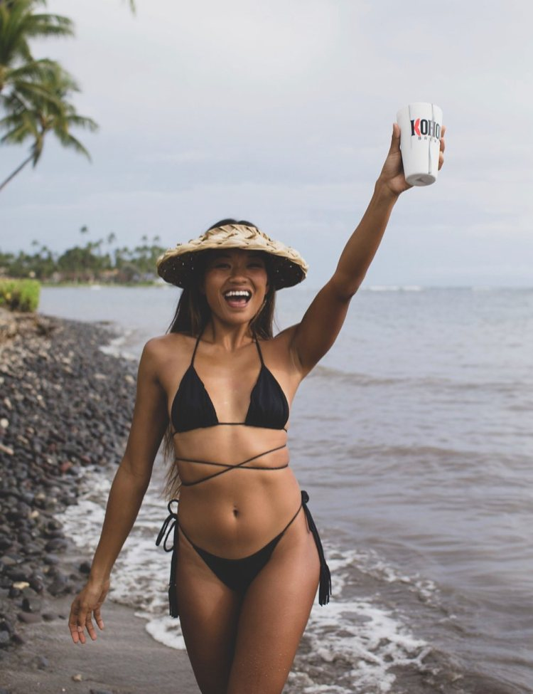Bikini Model in Maui with Kohola Brewery Beer
