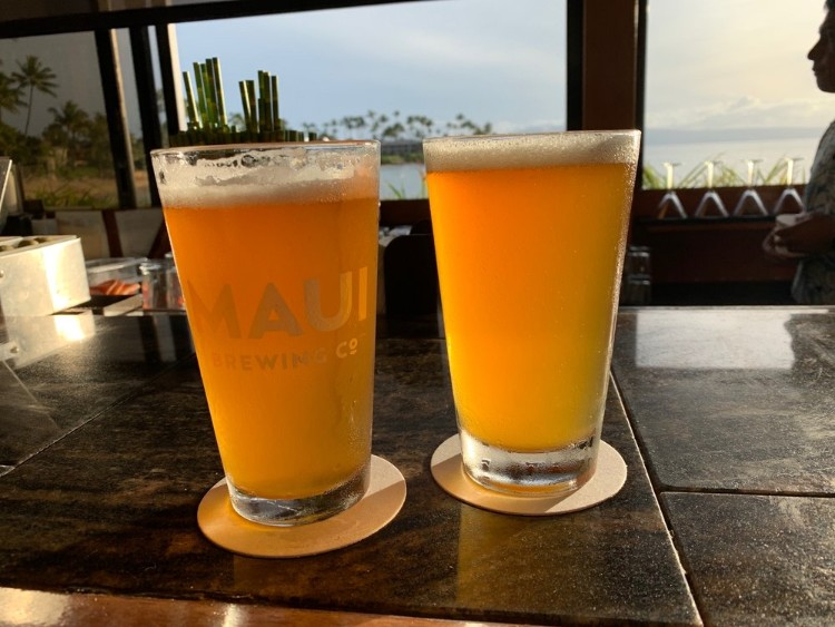 Happy hour beers at The Sea House Restaurant Napili Bay