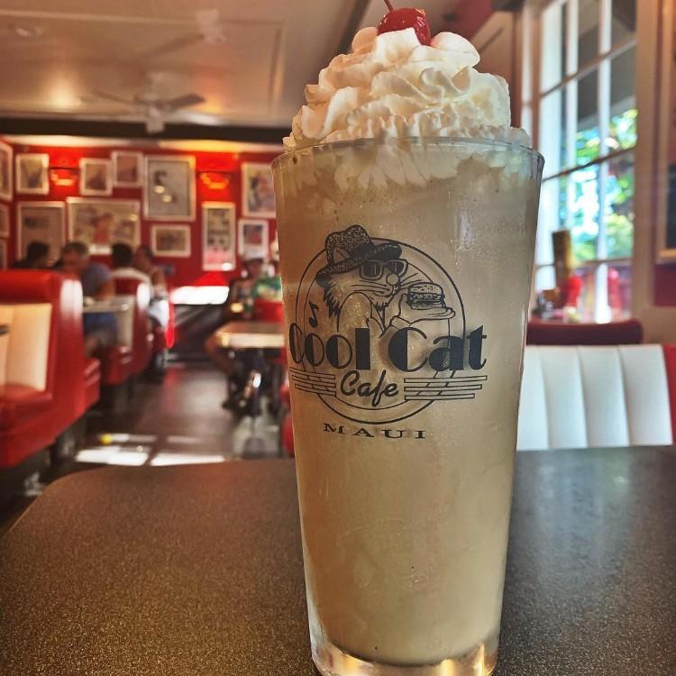 Happy hour milkshake at cool cat cafe maui