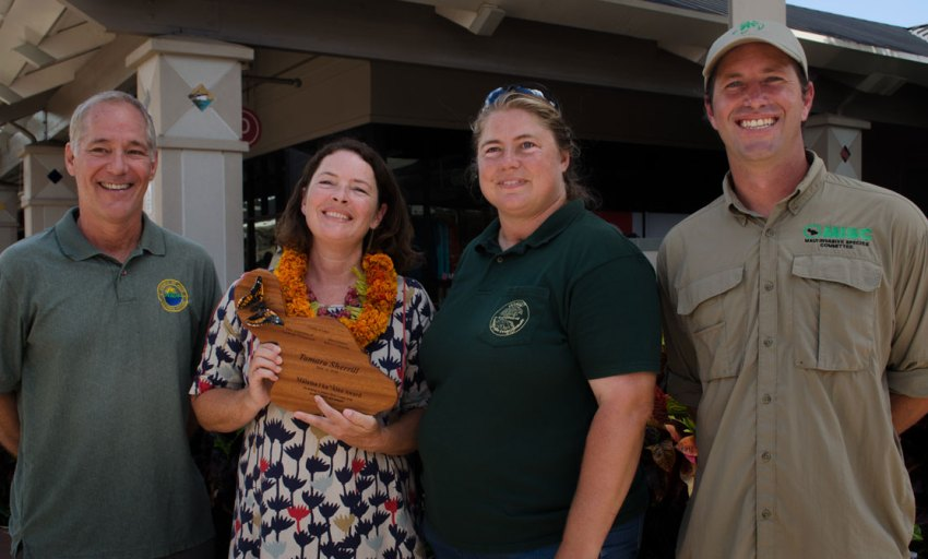 Tamara Sherrill , director of the Maui Nui Botanical Gardens, was the recipient of the 2016 Malama i ka Aina Award. From left, Rob Parson, Tamara Sherrill, Allison Wright, and Adam Radford.