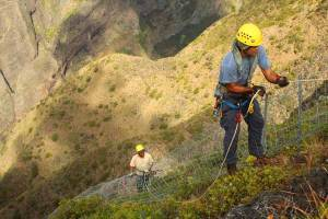 Crew  with the West Maui Mountains Watershed Partnership build fence in some of the most difficult terrain imagnable. This and other resource managment efforts are possible thanks to the work behind the scnese at the Pacific Cooperative Studies Unit. Photo by Chris Brosius