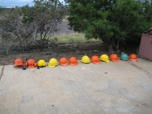 hard hats lined up