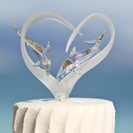 Dolphin Glass Wedding Cake Topper by Kai Pua Gallery