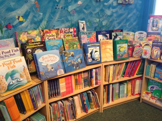 Childrens book section at maui ocean center store