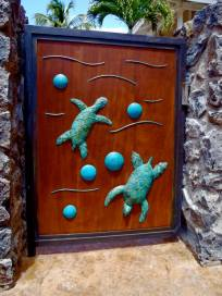 Ipe wood gate with turtles