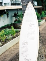 Help your guests find their seats with this surfboard table assignment sign.