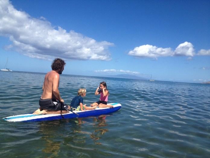 surfing Maui dad