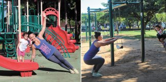mother exercises in the park