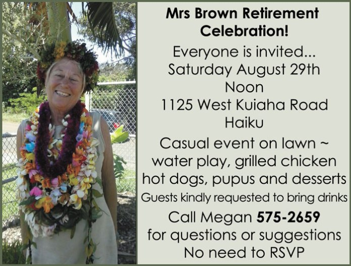Mrs Brown retirement