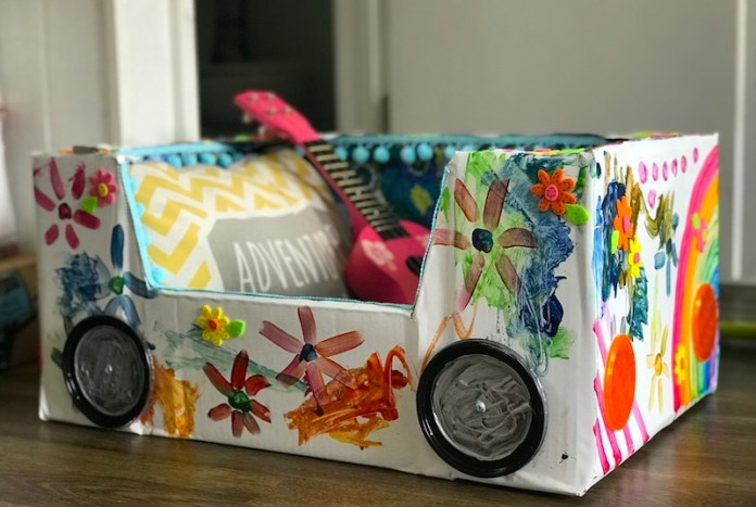 Kids craft project grocery box