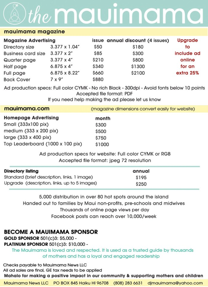 Mauimama ad rate form 2020