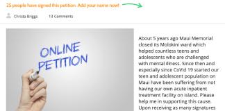 Maui teen Mental health