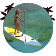 stand up paddler on a lesson