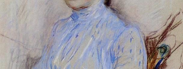 Berthe Morisot - Mujer joven en una blusa azul con gato