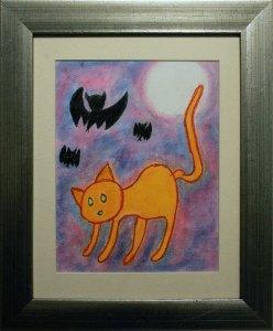 """El gato en la oscuridad, 2017, Natalia Ramos, técnica mixta, exposición """"Maestros y Alumnos 2018"""""""