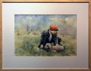 """La oveja y yo, 2017, Stephanie Wolff, acuarela sobre lienzo, exposición """"Maestros y Alumnos 2018"""""""