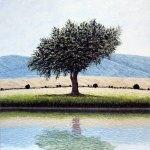 """A la orilla del viento, 2018, Guillermo Pons, óleo sobre tela, exposición """"Reflejos a Barlovento""""."""