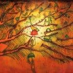 """El árbol del sol, 2017 - 2018, Javier Cruz, óleo sobre lino, exposición """"Árbol, rama y tiempo. Eterna naturaleza""""."""